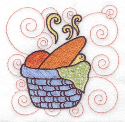Embroidery Design: Basket full of bread large 4.95w X 4.98h