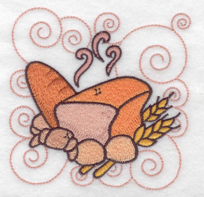 Embroidery Design: Bread buns and croissant small 3.89w X 3.89h