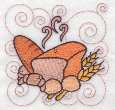 Embroidery Design: Bread buns and croissant large 4.98w X 4.98h