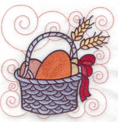Embroidery Design: Bread buns and wheat in a basket large 4.89w X 4.96h
