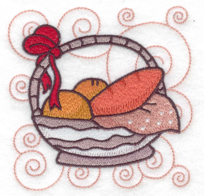 Embroidery Design: Basket bow and bread small 3.85w X 3.87h