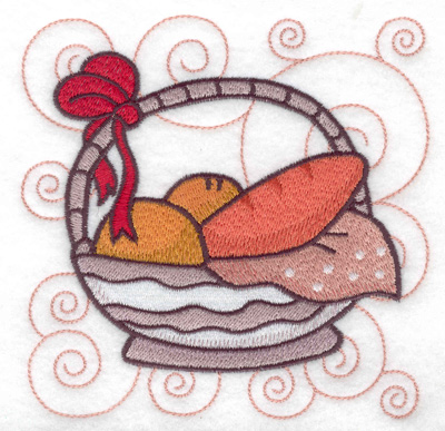 Embroidery Design: Basket bow and bread large 4.96w X 4.98h