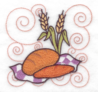 Embroidery Design: Two loaves of bread small 3.88w X 3.75h