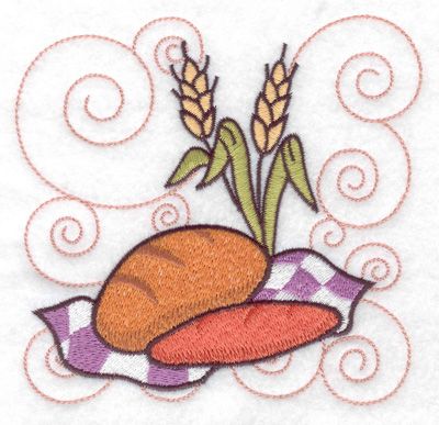 Embroidery Design: Two loaves of bread large 4.97w X 4.79h