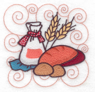 Embroidery Design: Bag of flour with bread small 3.89w X 3.89h