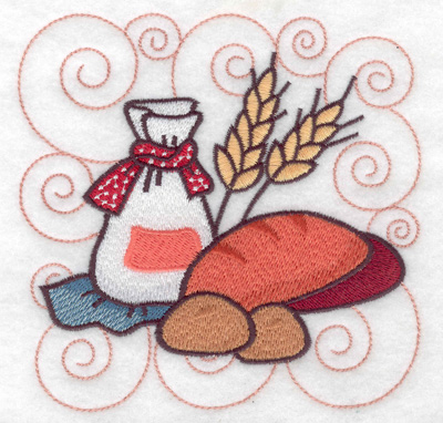 Embroidery Design: Bag of flour with bread large 4.98w X 4.97h