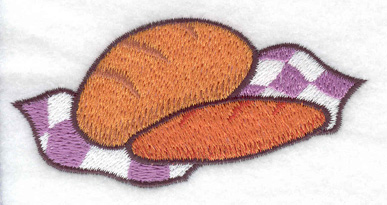 Embroidery Design: Two loaves of bread 3.55w X 1.76h
