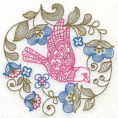 Embroidery Design: Jacobean bird and flowers A medium 6.00w X 6.06h