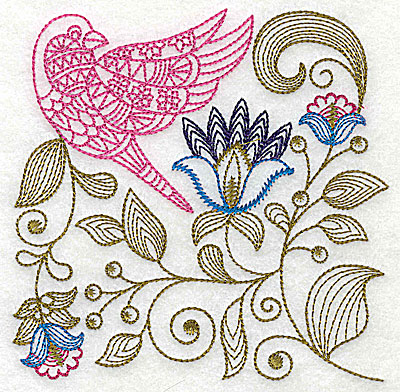 Embroidery Design: Jacobean bird and flowers B 7.31w X 7.25h