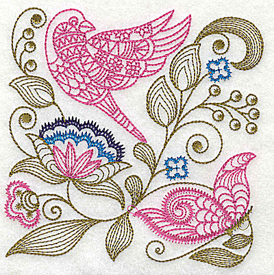 Embroidery Design: Jacobean bird and flowers C 7.31w X 7.31h