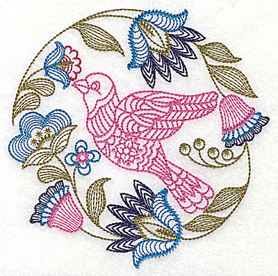 Embroidery Design: Jacobean bird and flowers D 7.25w X 7.25h