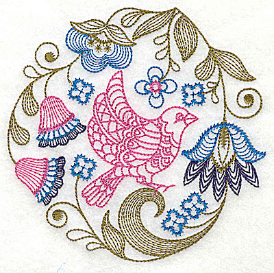 Embroidery Design: Jacobean bird and flowers E 7.31w X 7.19h