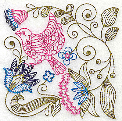 Embroidery Design: Jacobean bird and flowers F 7.25w X 7.25h