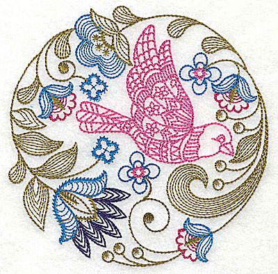 Embroidery Design: Jacobean bird and flowers G 4.88w X 4.88h