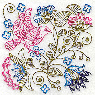 Embroidery Design: Jacobean bird and flowers H 6.13w X 6.13h