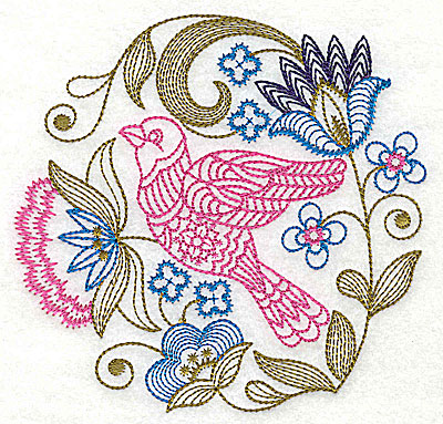 Embroidery Design: Jacobean bird and flowers I 6.13w X 5.94h