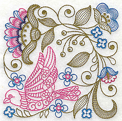 Embroidery Design: Jacobean bird and flowers J 7.25w X 7.31h