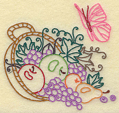 Embroidery Design: Basket with fruit and leaves small 3.76w X 3.69h