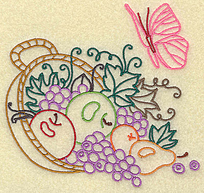 Embroidery Design: Basket with fruit and leaves large 4.96w X 4.73h