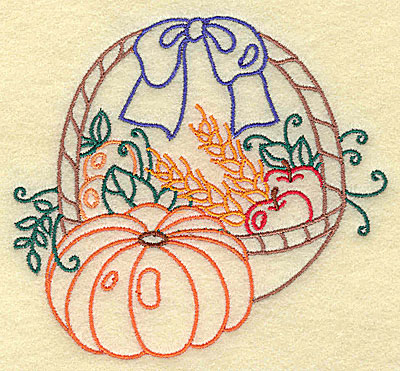Embroidery Design: Fruit basket with pumpkin small 3.86w X 3.54h