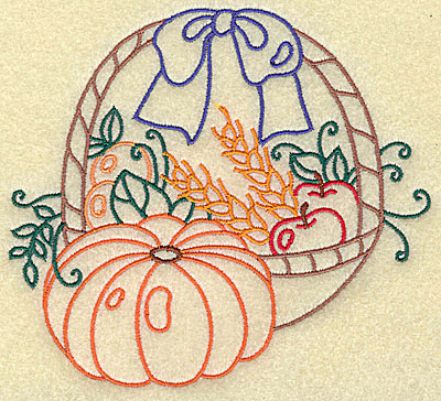 Embroidery Design: Fruit basket with pumpkin large 4.94w X 4.54h