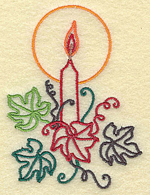 Embroidery Design: Candle with leaves 2.80w X 3.75h