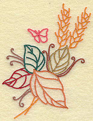 Embroidery Design: Wheat leaves and butterfly 3.18w X 4.21h