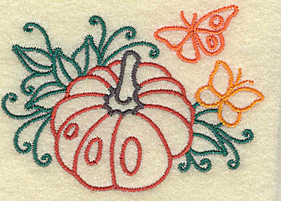 Embroidery Design: Pumpkin and butterfly 3.26w X 2.36h
