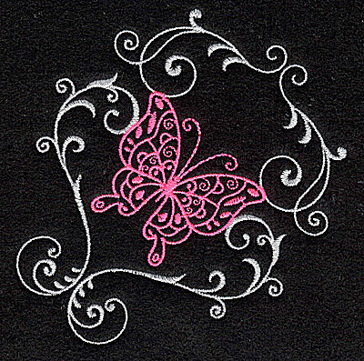 Embroidery Design: Butterfly Swirl A small 3.87w X 3.87h