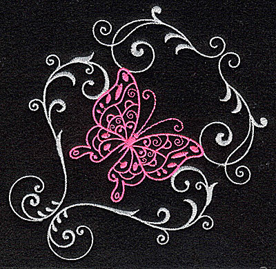 Embroidery Design: Butterfly Swirl A large 4.95w X 4.96h