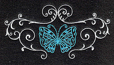 Embroidery Design: Butterfly Swirl B small 3.88w X 2.01h