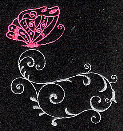 Embroidery Design: Butterfly Swirl C small 3.50w X 3.86h