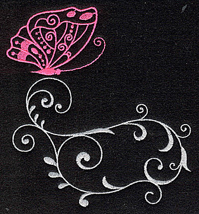 Embroidery Design: Butterfly Swirl C large 4.51w X 4.98h