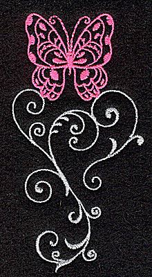 Embroidery Design: Butterfly Swirl D small 1.98w X 3.88h