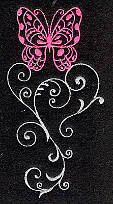 Embroidery Design: Butterfly Swirl D large 2.53w X 4.96h