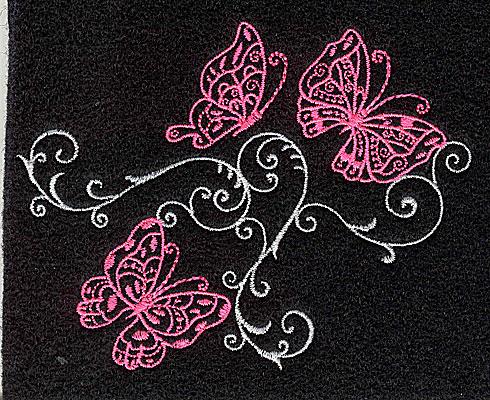 Embroidery Design: Butterfly trio swirl F small 3.90w X 3.06h