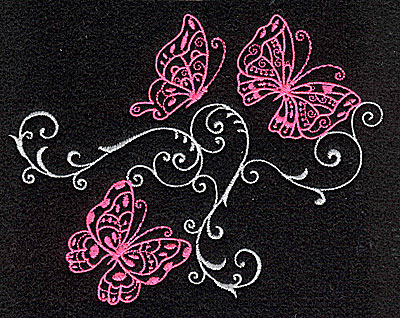 Embroidery Design: Butterfly trio swirl F large 4.98w X 3.91h