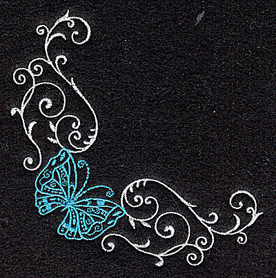 Embroidery Design: Butterfly Swirl G small 3.86w X 3.86h
