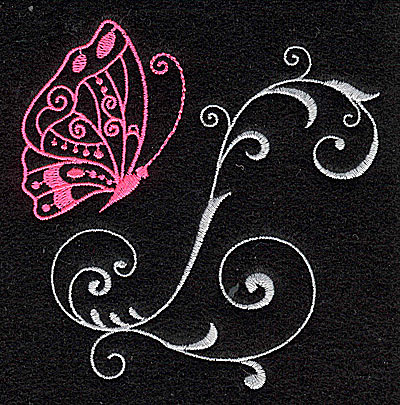 Embroidery Design: Butterfly Swirl H small 3.74w X 3.86h