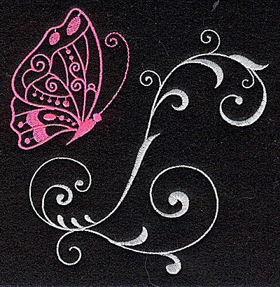Embroidery Design: Butterfly Swirl H large 4.82w X 4.98h