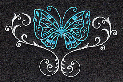 Embroidery Design: Butterfly Swirl K 3.88w X 2.45h
