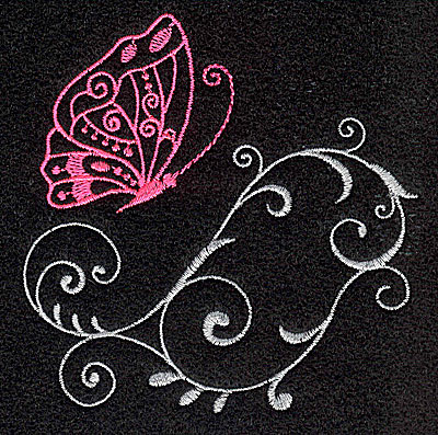 Embroidery Design: Butterfly Swirl L 3.37w X 3.41h