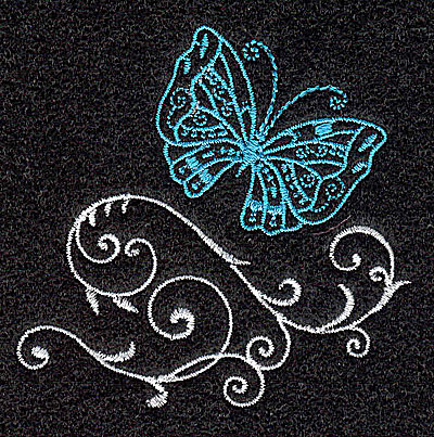 Embroidery Design: Butterfly Swirl O 2.54w X 2.51h