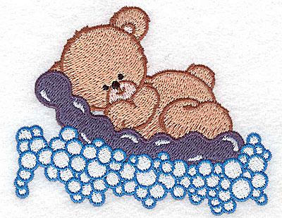 Embroidery Design: Baby bear on air mattress small 3.87w X 3.09h