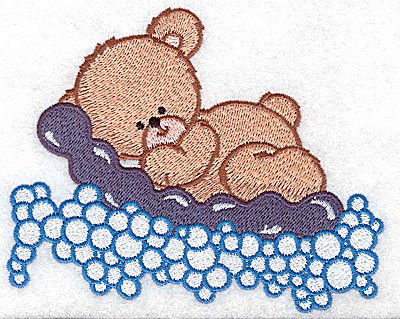Embroidery Design: Baby bear on air mattress large 4.96w X 3.95h