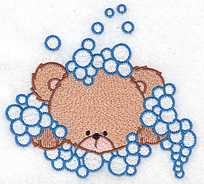 Embroidery Design: Baby bear amidst bubbles large 4.71w X 4.33h