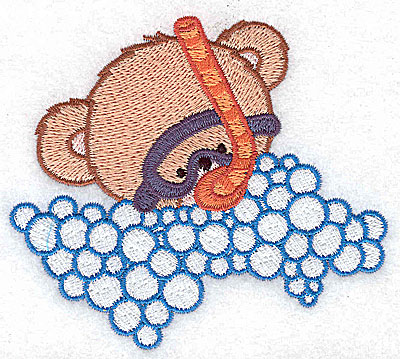 Embroidery Design: Baby bear in snorkel and mask small 3.76w X 3.32h