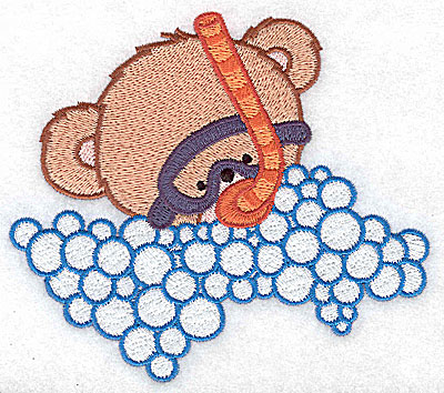 Embroidery Design: Baby bear in snorkel and mask large 4.88w X 4.32h