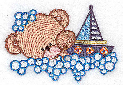 Embroidery Design: Baby bear with sailboat small 3.63w X 2.54h