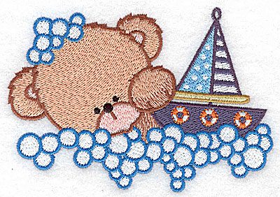 Embroidery Design: Baby bear with sailboat large 4.72w X 3.30h